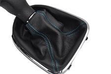 FITS SEAT LEON TOLEDO ALTEA 2006 TO 2011 BLACK LTHR GEAR GAITER  blue stitching