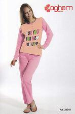 Pijama de mujer Largo Serafino. Pantalones + Manga OGHAM, 24941 Puro Algodón