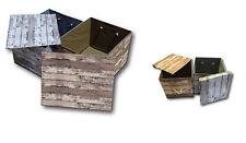 Aufbewahrungsbox Kiste Box mit Deckel Aufbewahrung Ordnung Retro Holz Look NEU