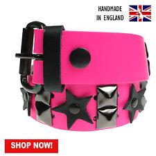 38mm negro pirámide y Estrella del auténtico cuero hecho a mano en Reino Unido Press Stud Belt