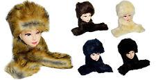 Russian Style Single Side Faux Fur Hat Cap Ear Warmer & Collar Scarf Neck Warmer