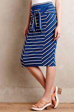 NWOT Anthropologie Tideline Pencil Skirt by Lilka blue white stripe tie waist