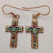 Bronze Handmade Inlay Stone Cross Hook Dangle Earrings