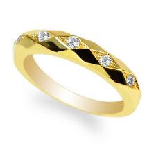 Ladies Yellow Gold Plated Round CZ Stylish Wedding Band Ring Size 4-10