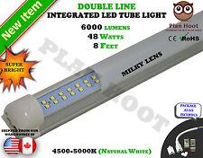 8 FEET Integrated 48 WATT T8 MILKY LENS Double Line LED 5000K Tube Light
