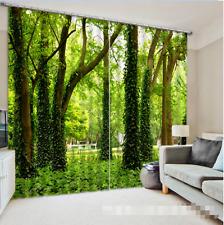 3D Grüne Bäume 743 Blockade Foto Vorhang Druckvorhang Vorhänge Stoff Fenster DE