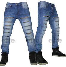 Jeans uomo strappati Denim cargo regular fit diritto 44 46 48 50 52 54 56  nuovo