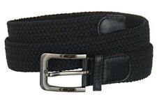 "Men's Golf Elastic 1 1/4"" Wide Stretch Belt w/ Polished Buckle & Genuine Leather"