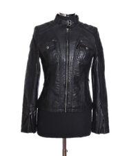 Tina Nera Da Donna Stile Biker Moda Retro Real Soft Sheep Leather Giacca
