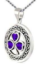 0.925 Sterling Silver Irish Shamrock Clover Simulated Tanzanite Pendant Necklace