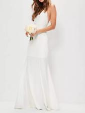 MISSGUIDED bridal white square neck cross back maxi dress LADIES FASHION (M63/12