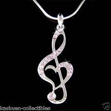 Purple w Swarovski Crystal TREBLE G CLEF MUSIC NOTE Heart Pendant Chain Necklace