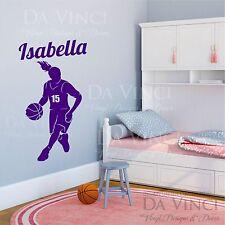 Basketball Player Dribbling Decal Girl Custom Name Personalized Vinyl Sticker