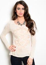 Long Sleeve Casual Women Fashion Raglan Sweater Top Blouse Lace Tribal Design