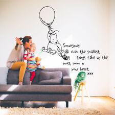 WINNIE THE POOH WALL  ART STICKER  QUOTE KIDS BEDROOM BABY NURSERY DECORATIORATI