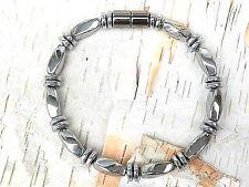 Men's Woman's 100% SILVER Magnetic Hematite Bracelet Anklet Necklace 1 Row
