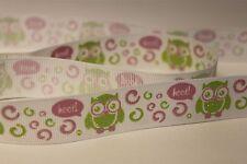 Owl hoot multi coloured grosgrain 22mm ribbon gift/cake/arts/crafts decorating
