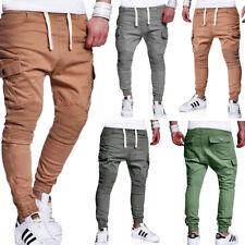 Jogg-Jeans Pantaloni Chino Da Jogging Pantaloni in Jeans-look Beige/Blu/Grigio/Cachi BIKER NUOVO