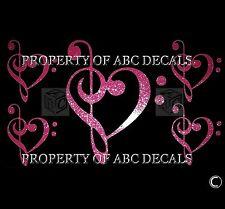 VRS Bass & Treble Clef Heart 5pc Music PIANO Metal Car STICKER GUITAR DECAL