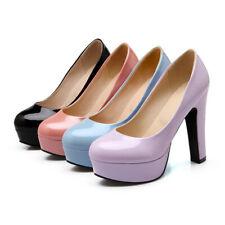 Womens Candy color Round Toe Slip On Platform Block High Heels Dress Shoes Pumps