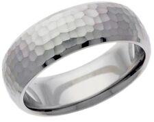 Platinum 14k 10k 18k silver white gold wedding band ring hammered finish mens