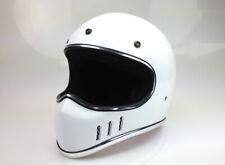 Retro Cross-Enduro-Helm Endurohelm Casco Helmet Casque weiss-glänzend DOTgeprüft