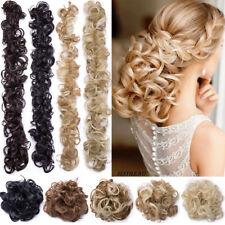 Wedding Messy Curly Bun Scrunchies Wrap Clip In Hair Extension As Human Hair AP3