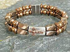 Magnetic Hematite Bracelet Anklet 2 Row Cross Pendant Copper Silver