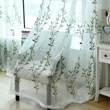 "Blue Green Willow Sheer Curtains Bedroom Door Tulle Window Drapes 63/84"""