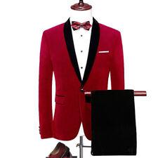 Men's Red Velvet Jacket Blazer Black Pants Groom Tuxedos Dinner Wedding Suit