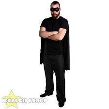 Superhéroe Capa + Máscara Adultos Negro Fancy Dress Costume héroe de comic Película Halloween