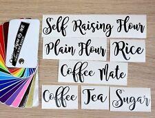 Kitchen Storage Coffee Tea Sugar Flour Jar Labels Stickers Vinyl Decals Adhesive