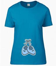 T-SHIRT DONNA PREMAMAN BIMBO SCARPINE AZZURRE MAGLIETTA BABY SHOES PREGNANCY