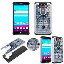For LG V10 VS990 Diamond Bling Hybrid Case Slim Shock Proof Dual Layer Designer