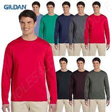 Gildan Men's 100% Cotton Taped Neck Crewneck Long Sleeve BIG SIZE T-Shirt BG644