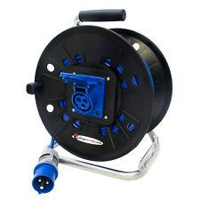 Industrial 16 amp Arctic Blue Extension Reel. Ceeform Plug to 2 Gang Sockets