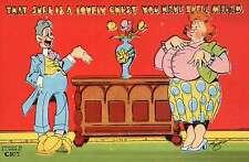 """ Lovely Chest, Madam,"" Double-Entendre  --- Old Linen Comic Postcard 1930-1944"