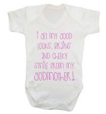 I Get My Good Looks Godmother Baby Vest Christening newborn Godchild funny 771