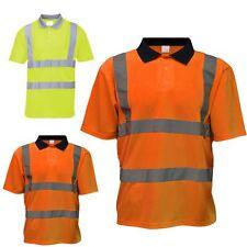 Mens Short Sleeve High Vis Safety Yellow/Orange T-Shirt Work Wear Visibility Top