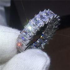 Charm Princess cut full Clear AAAAA CZ White Gold Filled Women Wedding band Ring