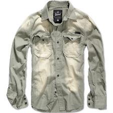 Brandit Hardee Denim Casual Hombres Camisa Manga Larga Lavados Viaje Algodón Gri