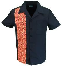 Mens Retro Black With Flame Stripe Rockabilly Bowling Shirts