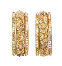 Indian Bollywood Glittering Golden Stone Partywear Bangles Bracelet Kada Jewelry