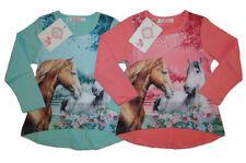 Mädchen Langarmshirt mit Pferde Motiv Kinder langarm Shirt T-Shirt Pferd Rose