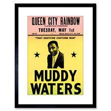 Music Concert Ad Muddy Waters Legend Blues USA Framed Art Print 9x7 Inch