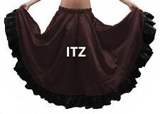 Coffee & Black Satin 12 Yard Flamenco Skirt Belly Dance Gypsy Tribal Ruffle ATS
