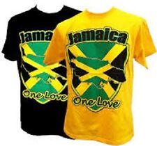 JAMAICA FLAG ONE LOVE T-SHIRT YELLOW OR BLACK ROOTS RASTA REGGAE