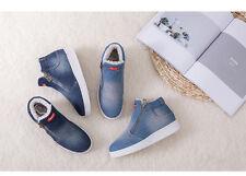 Women Denim Boots Soft Flat Ankle Shoes Double Zip Martin Winter Boots G