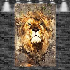 XXL Löwe durchbricht Wand 105cmx160cm auf Leinwand Keilrahmen Loft Bild Tier