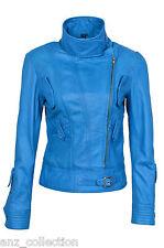 Lowa Ladies Blue Biker Style Designer Real Italian Nappa Italian Leather Jacket